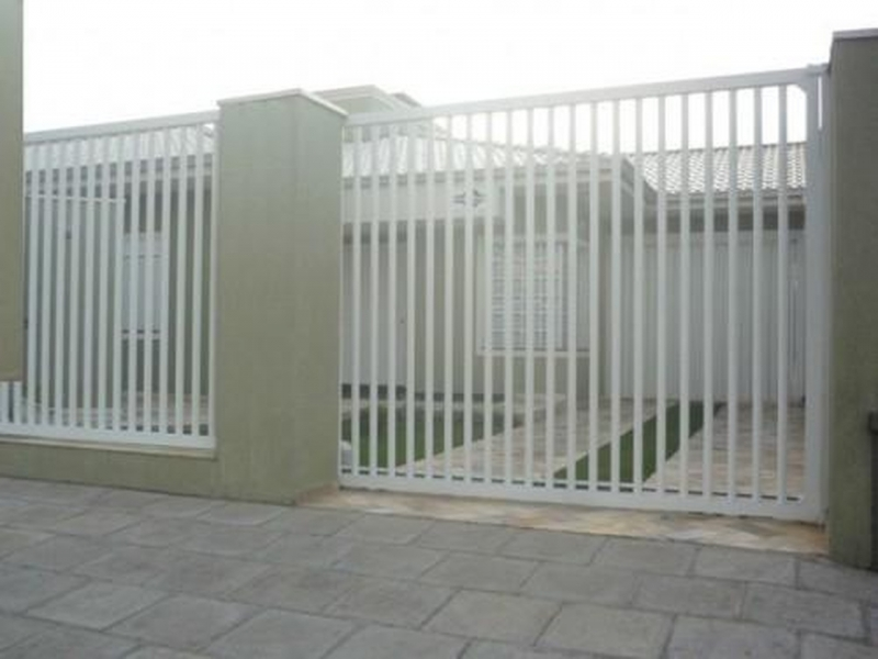 Portão de Alumínio Branco de Correr Qual o Preço de Capão Redondo - Portão de Alumínio com Motor
